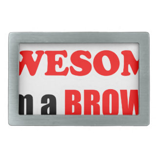 Brown Awesome Family Rectangular Belt Buckles