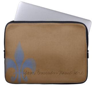 Brown azul personalizó la flor de lis descolorada funda computadora