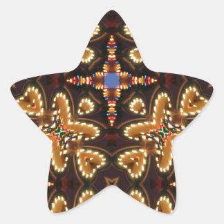 Brown, azul, y productos abstractos negros pegatina en forma de estrella