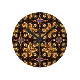 Brown, azul, y productos abstractos negros reloj de pared