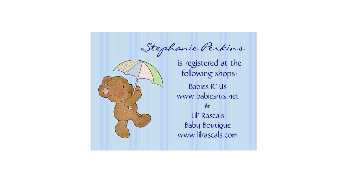 Baby Shower Gifts Off Registry ~ Brown baby bear shower registry cards zazzle