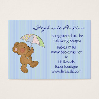 brown baby bear shower registry cards