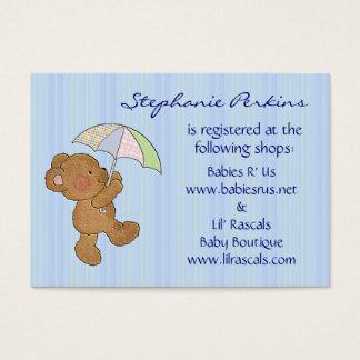 Brown Baby Bear Shower Registry Cards