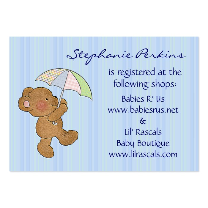 sweet dreams baby registry cards business card templates