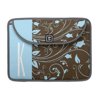 Brown & Baby Blue Floral MacBook Pro Sleeve