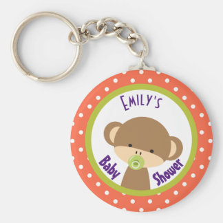 Brown Baby Monkey with Pacifier Baby Shower Keychain