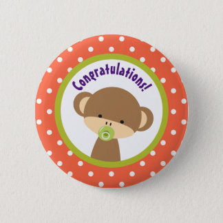 Brown Baby Monkey with Pacifier Congratulations Button