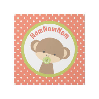 Brown Baby Monkey with Pacifier NomNomNom Gallery Wrap