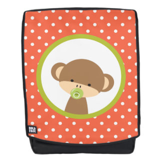 Brown Baby Monkey with Pacifier on Polka Dots Backpack