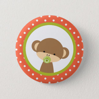 Brown Baby Monkey with Pacifier Pinback Button