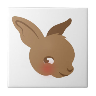 brown baby rabbit face ceramic tile