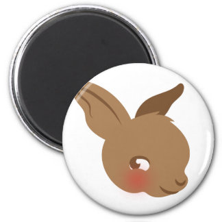 brown baby rabbit face magnet