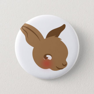 brown baby rabbit face pinback button