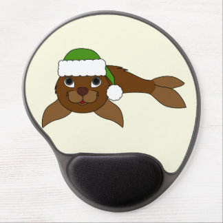 Brown Baby Seal with Christmas Green Santa Hat Gel Mouse Pad