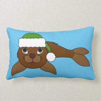 Brown Baby Seal with Christmas Green Santa Hat Lumbar Pillow