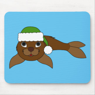 Brown Baby Seal with Christmas Green Santa Hat Mouse Pad