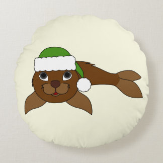 Brown Baby Seal with Christmas Green Santa Hat Round Pillow