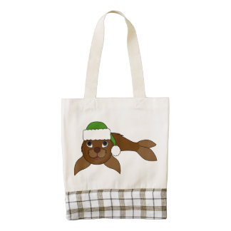 Brown Baby Seal with Christmas Green Santa Hat Zazzle HEART Tote Bag