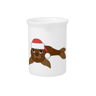 Brown Baby Seal with Christmas Red Santa Hat Drink Pitchers