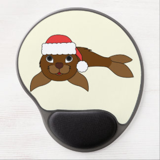 Brown Baby Seal with Christmas Red Santa Hat Gel Mouse Pad