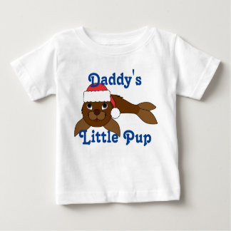 Brown Baby Seal with Christmas Red Santa Hat Infant T-shirt