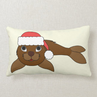 Brown Baby Seal with Christmas Red Santa Hat Lumbar Pillow