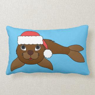 Brown Baby Seal with Christmas Red Santa Hat Lumbar Pillow