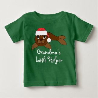 Brown Baby Seal with Christmas Red Santa Hat T Shirt