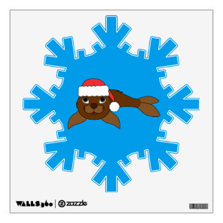 Brown Baby Seal with Christmas Red Santa Hat Wall Sticker