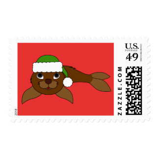 Brown Baby Seal with Green Santa Hat Postage