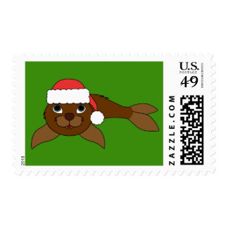 Brown Baby Seal with Red Santa Hat Postage