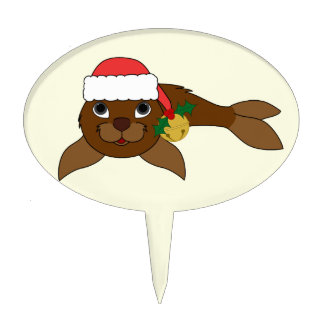 Brown Baby Seal with Santa Hat & Gold Bell Cake Topper
