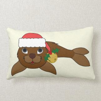 Brown Baby Seal with Santa Hat & Gold Bell Lumbar Pillow