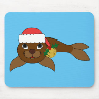 Brown Baby Seal with Santa Hat & Gold Bell Mouse Pad