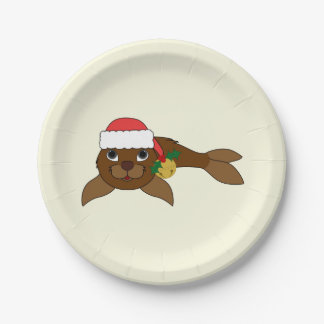 Brown Baby Seal with Santa Hat & Gold Bell Paper Plate
