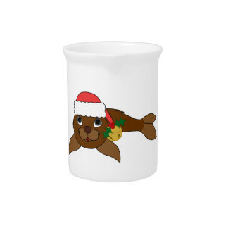 Brown Baby Seal with Santa Hat & Gold Bell Pitcher