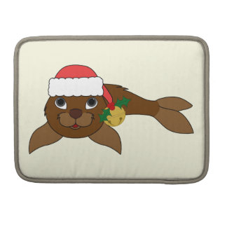 Brown Baby Seal with Santa Hat & Gold Bell Sleeve For MacBooks