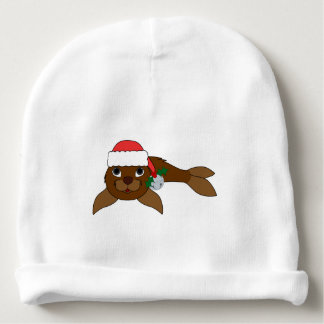 Brown Baby Seal with Santa Hat & Silver Bell