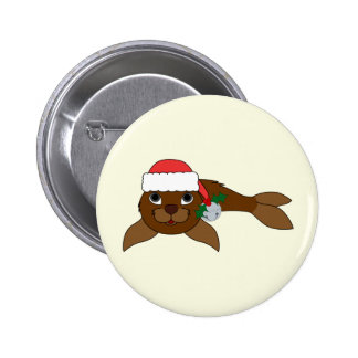Brown Baby Seal with Santa Hat & Silver Bell 2 Inch Round Button