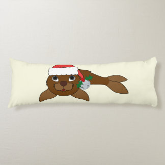 Brown Baby Seal with Santa Hat & Silver Bell Body Pillow