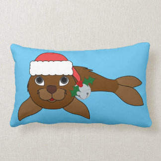 Brown Baby Seal with Santa Hat & Silver Bell Lumbar Pillow