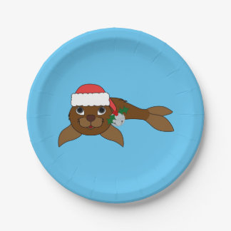 Brown Baby Seal with Santa Hat & Silver Bell Paper Plate