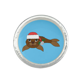 Brown Baby Seal with Santa Hat & Silver Bell Photo Ring