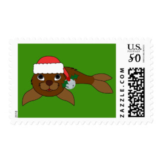 Brown Baby Seal with Santa Hat & Silver Bell Postage