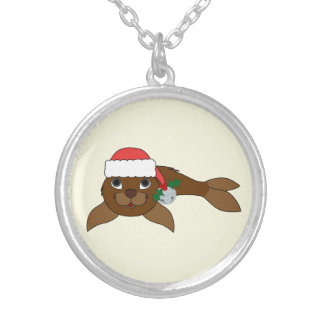 Brown Baby Seal with Santa Hat & Silver Bell Round Pendant Necklace