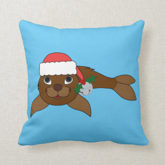 Brown Baby Seal with Santa Hat & Silver Bell Throw Pillow
