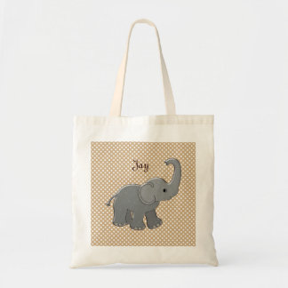brown baby shower elephant tote bag