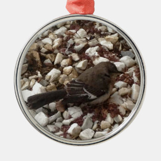 Brown Baby Sparrow On Pebbles Metal Ornament