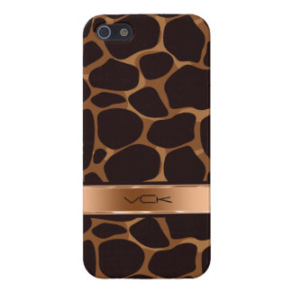 Brown Background & Copper Tones Leopard Print Case For iPhone SE/5/5s