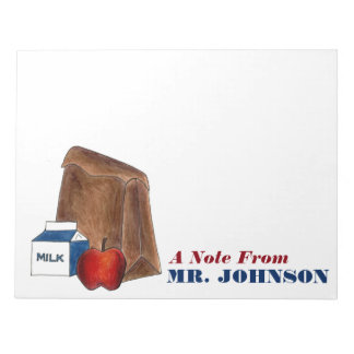 Brown Bag Lunch Apple Personalized Teacher Notepad